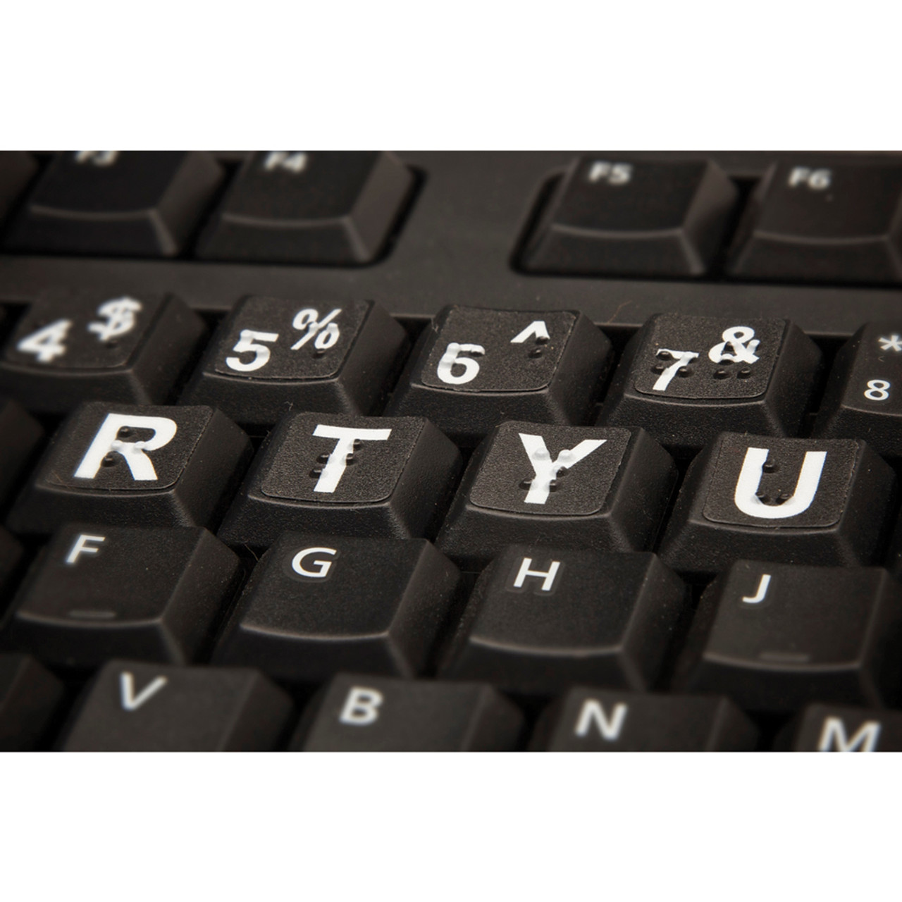 White on Black Braille Low Vision keyboard label