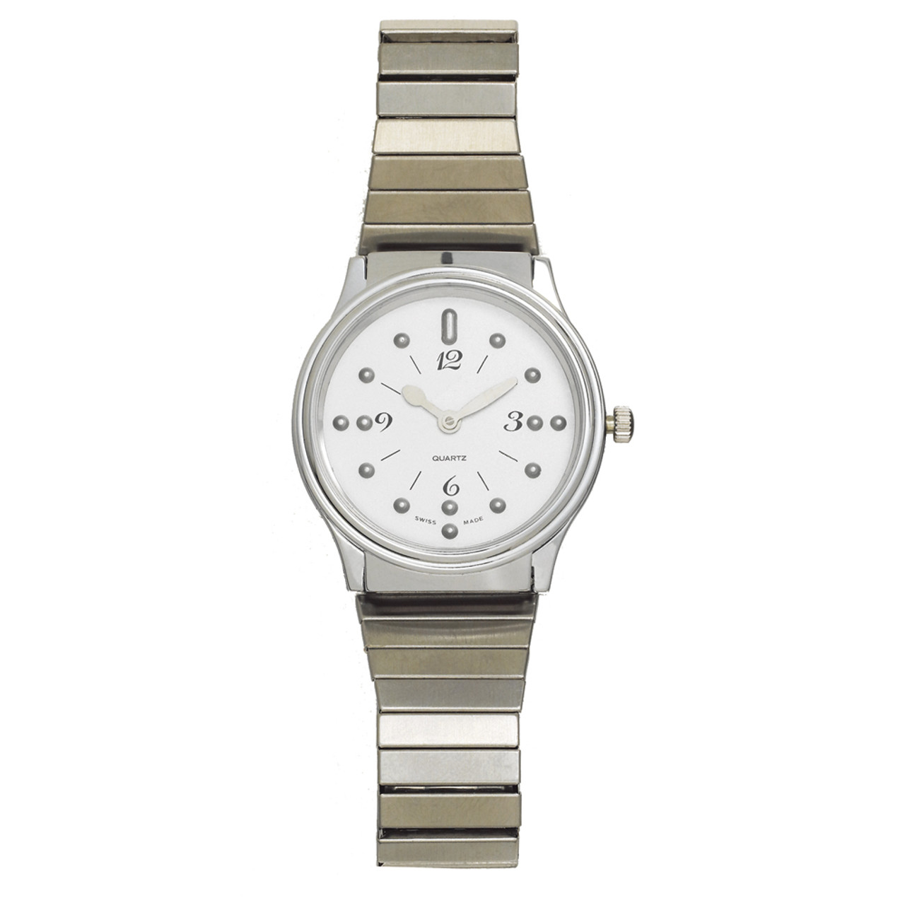 Men's Montiel Braille Watch Silver face, chrome case, expansion band