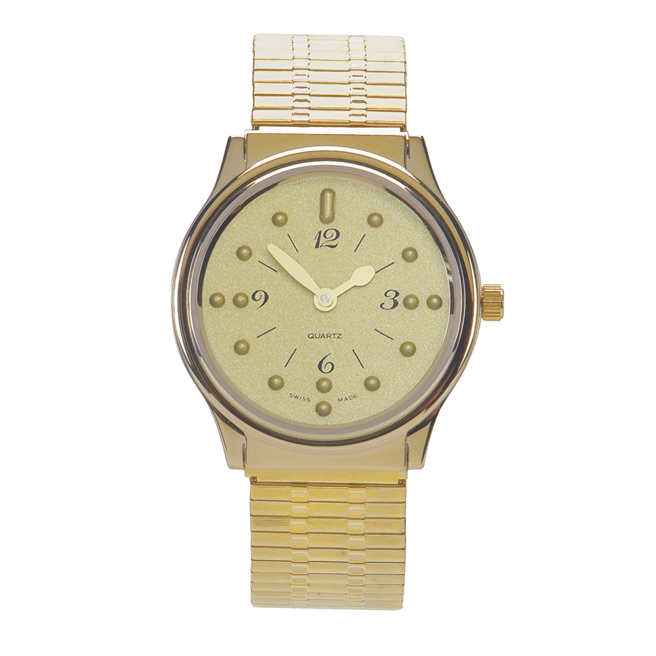 Men's Montiel Braille Watch Gold face, gold case, expansion band