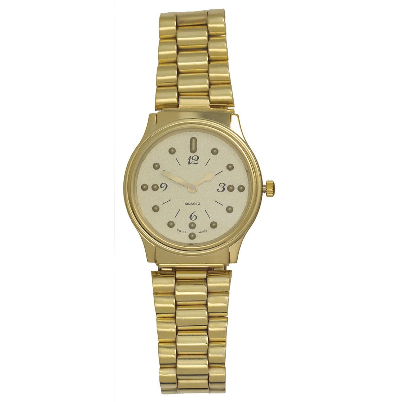 Men's Montiel Braille Watch Gold face, gold case, bracelet band