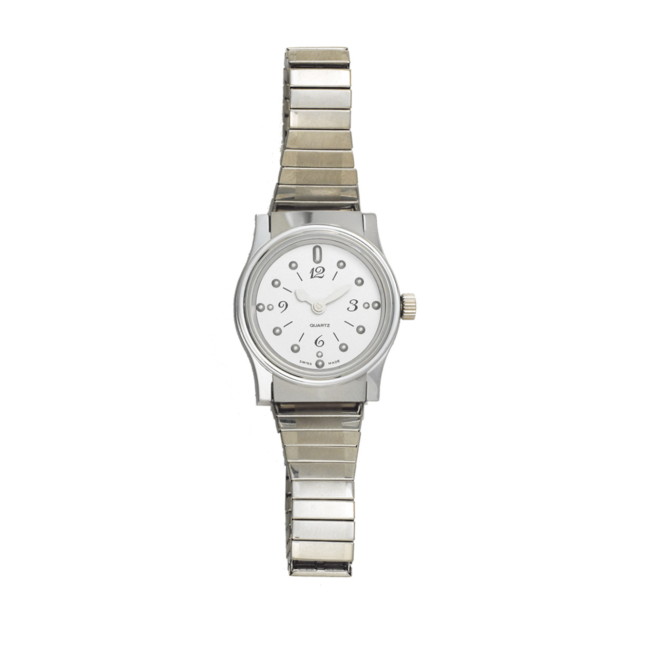 Ladies' Montiel Braille Watch Silver face, chrome case, expansion band