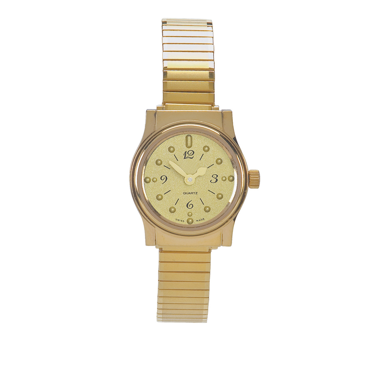 Ladies' Montiel Braille Watch Gold face, gold color, expansion band