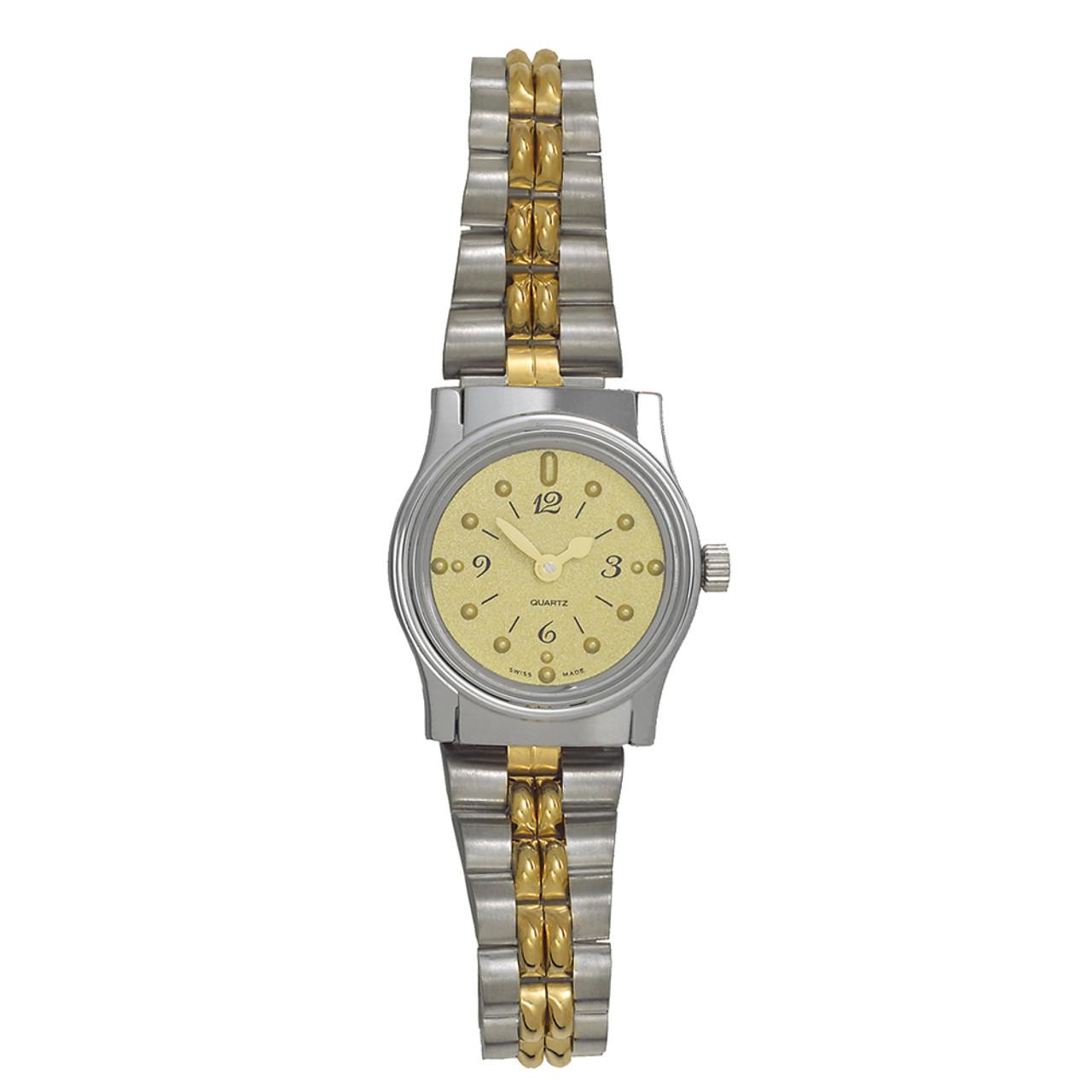 Ladies' Montiel Braille Watch Gold face, two tone color, bracelet