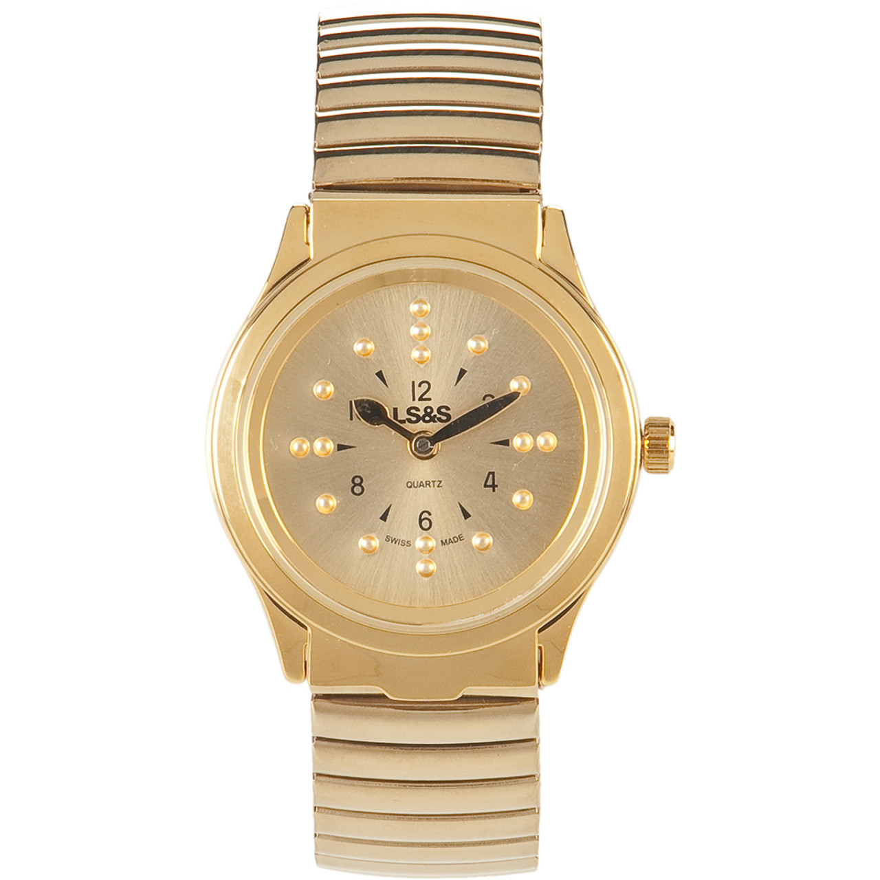 Braille Watch - Gold Face - Gold Expansion Band