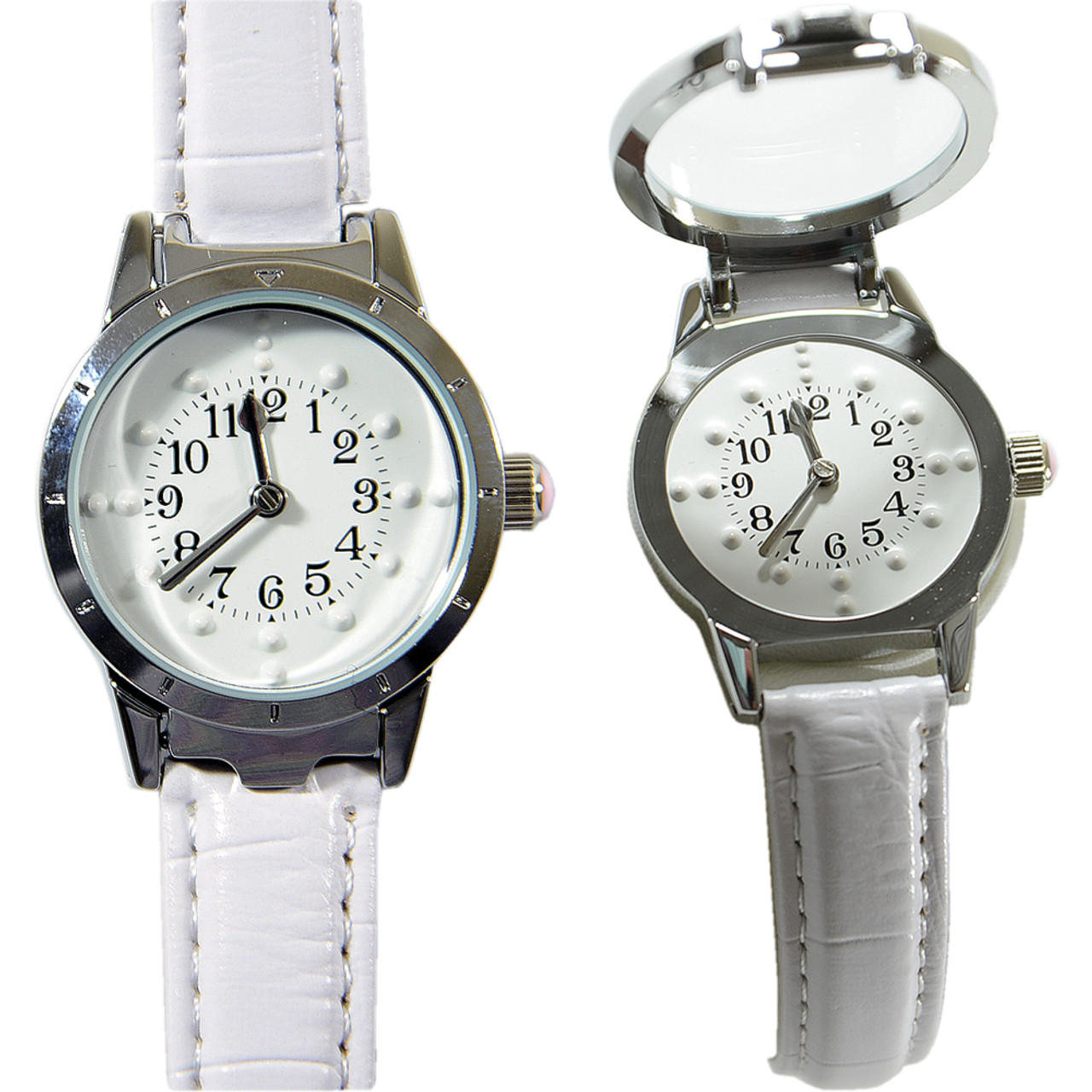 Ladies' Braille Watch Silver Case with White Face and White Leather Band