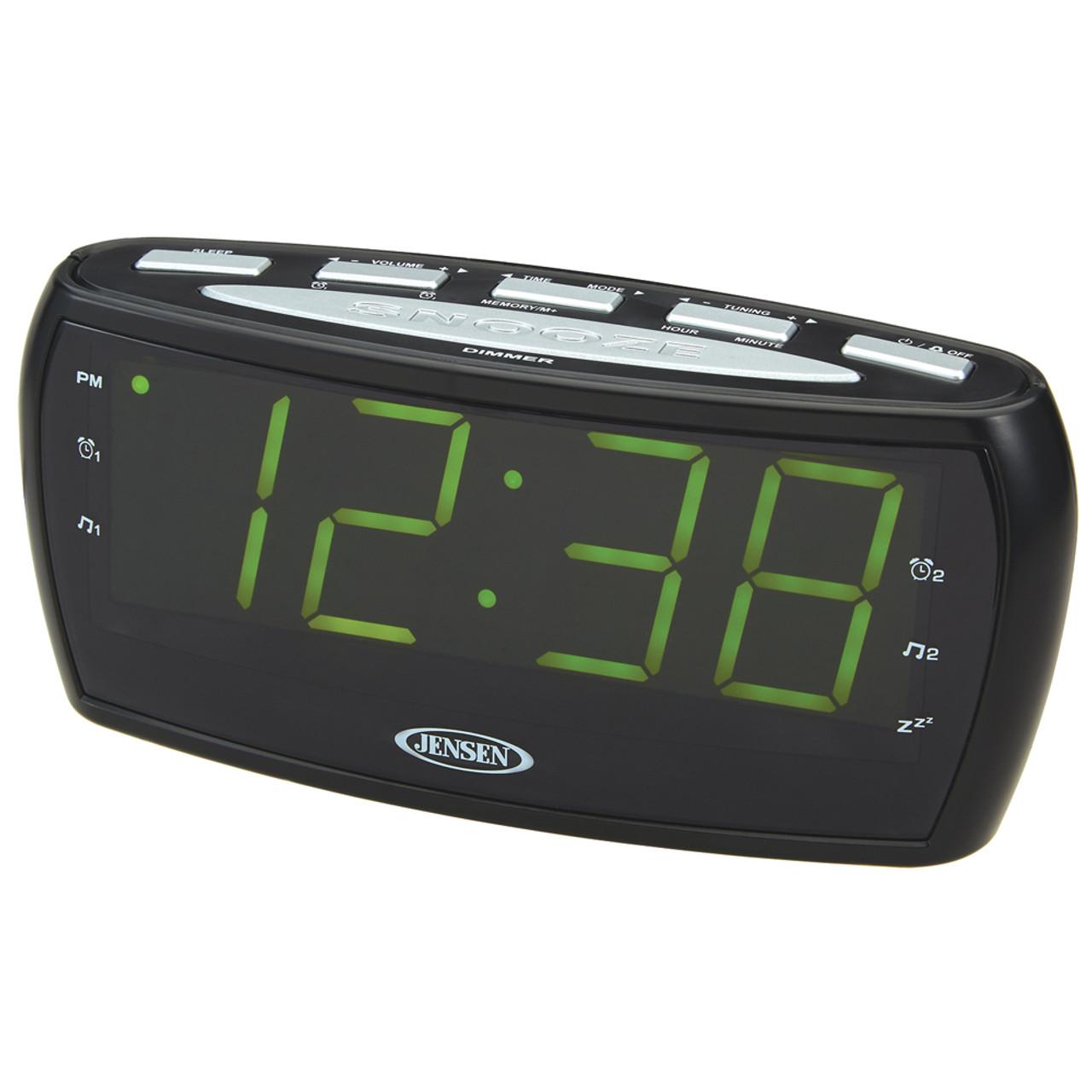 "Jensen AM/FM Alarm Clock Radio 1.8"" Green LED Display"