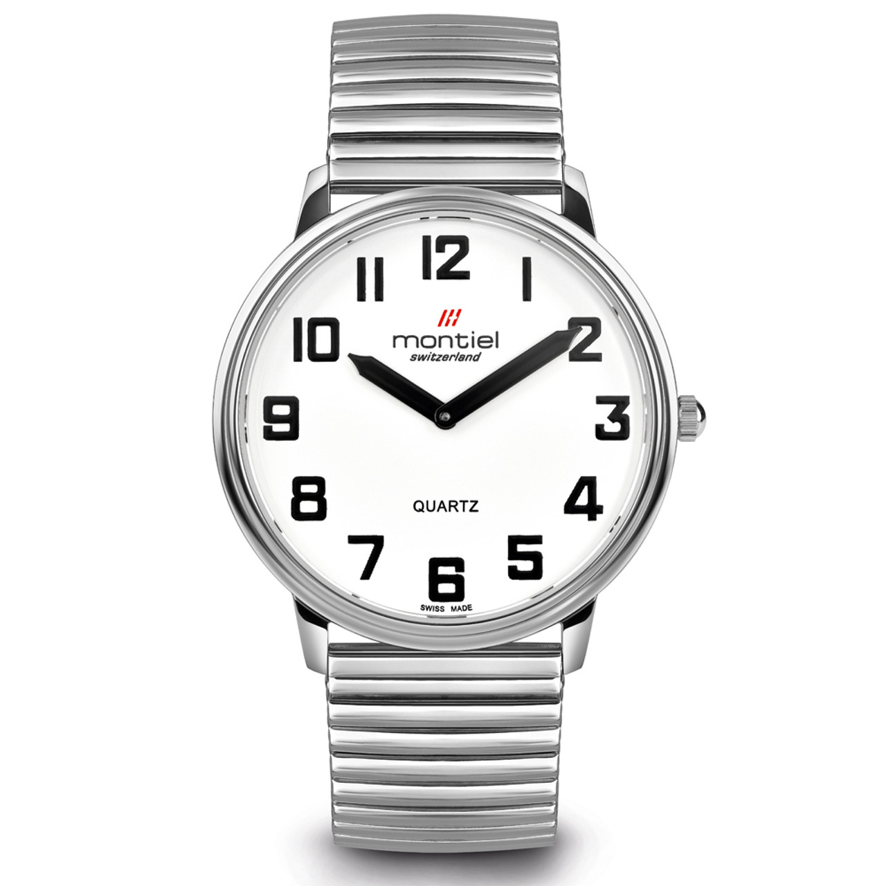 Montiel Low Vision Silver Watch Flex Band