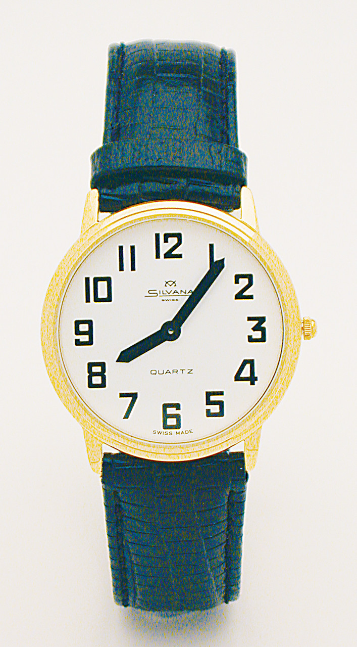Men's Montiel Low Vision Watch White face, gold case, leather band