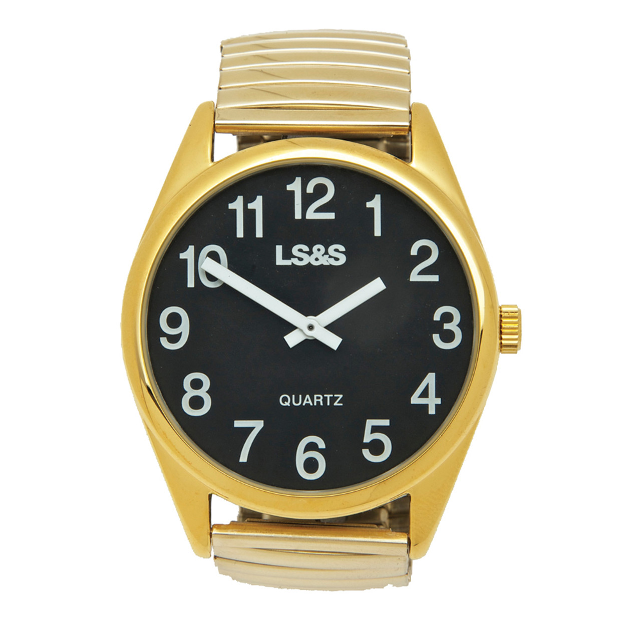 Jumbo Low Vision Watch Black face, gold color, expansion band
