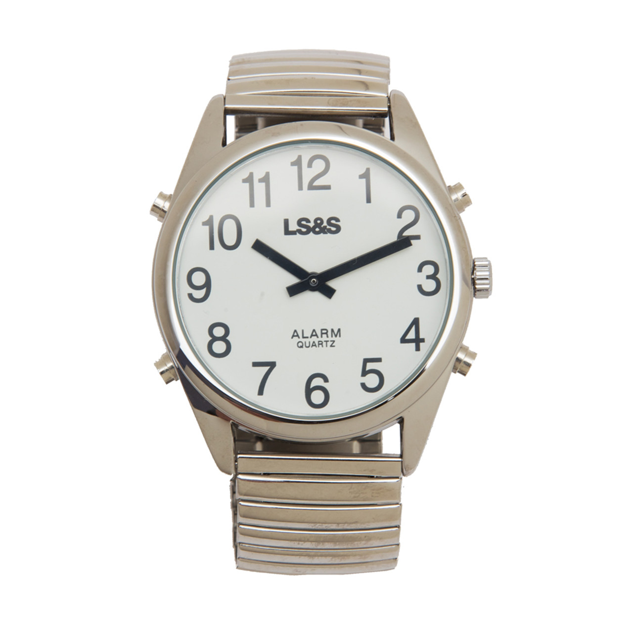 XL Talking Watch Calendar 4-Button Silver Case Silver Band White Face - Black Numbers
