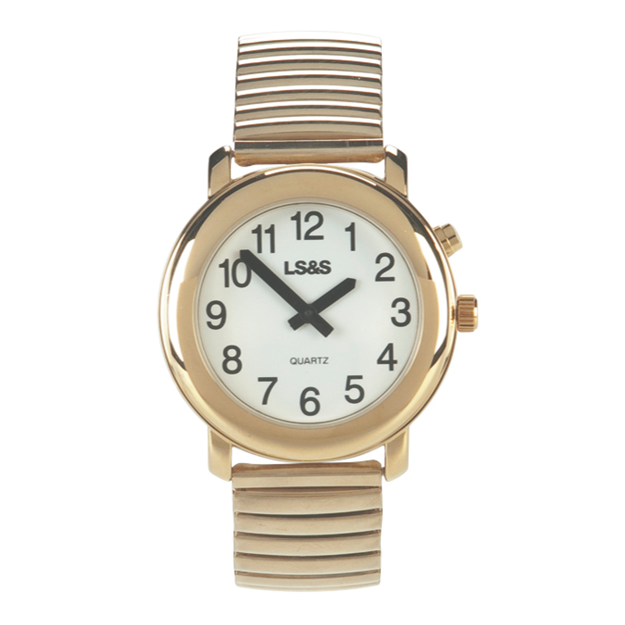 Talking 1-Button Watch With Choice of Voice White Face, Gold Color, Expansion Band