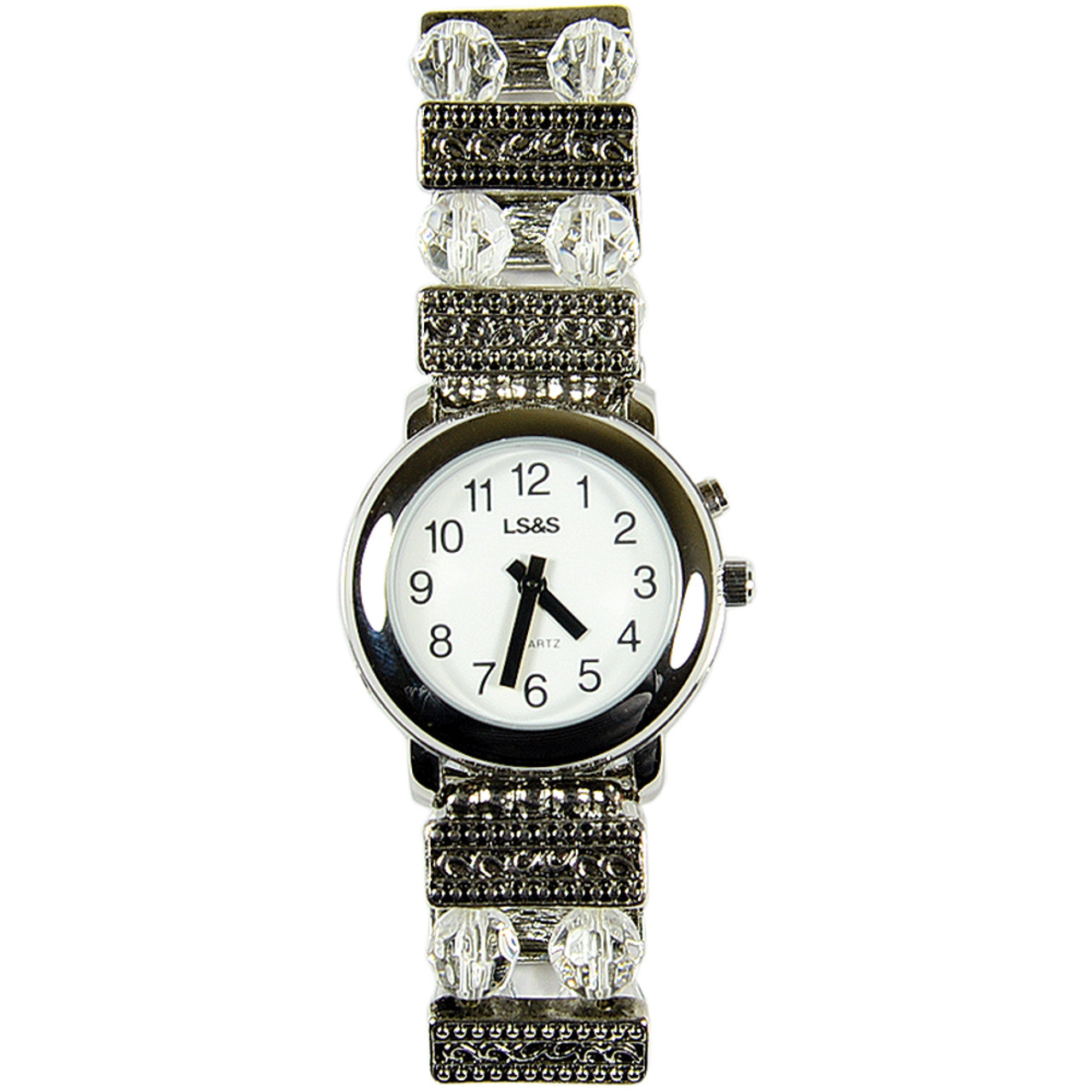 Ladies 1 Button Silver Tone Talking Watch Beaded Band