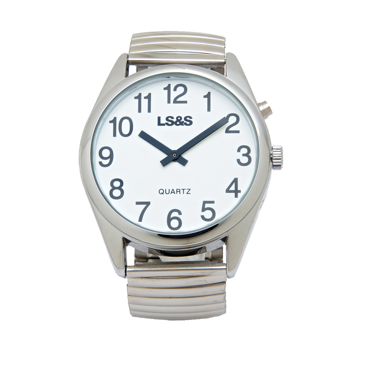 XL Talking Watch - 1 Button - Silver Case - Silver Band White Face - Black Numbers