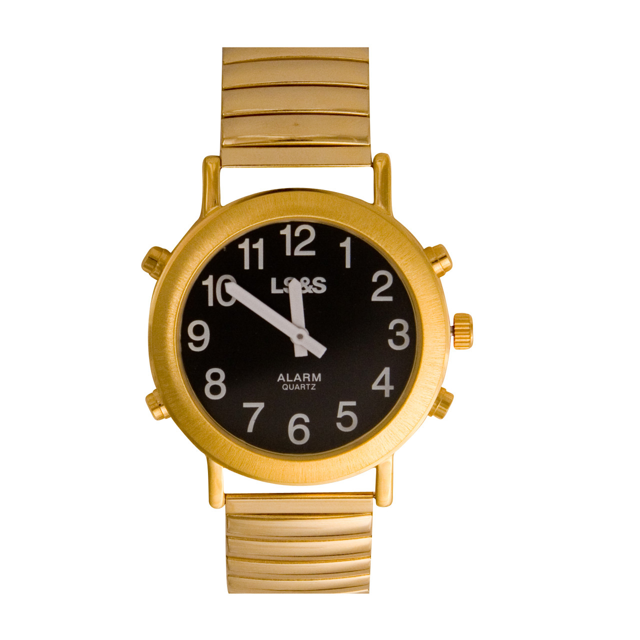 Talking Watch Black face, gold tone, expansion band