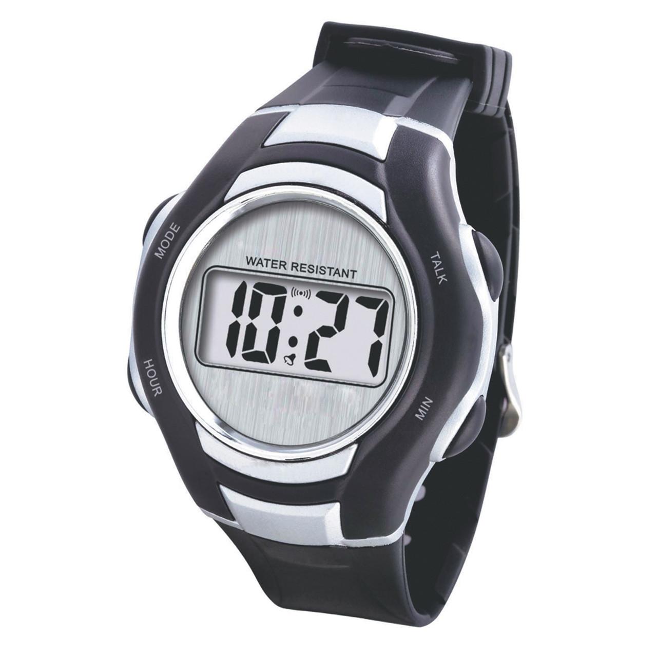 Talking Sport Watch - Silver Trim - Water Resistant