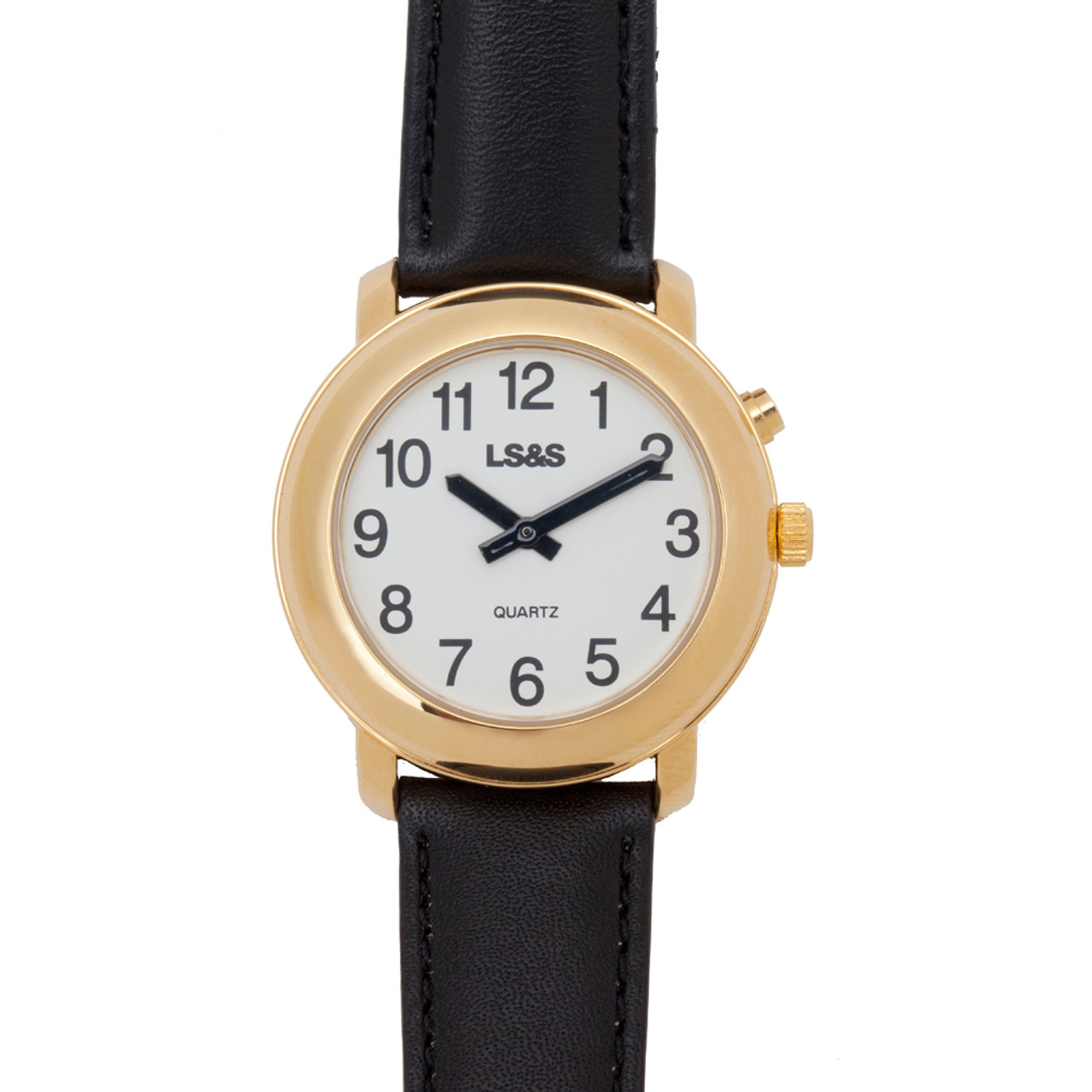 Gold One Button Talking Watch - Black Leather Band