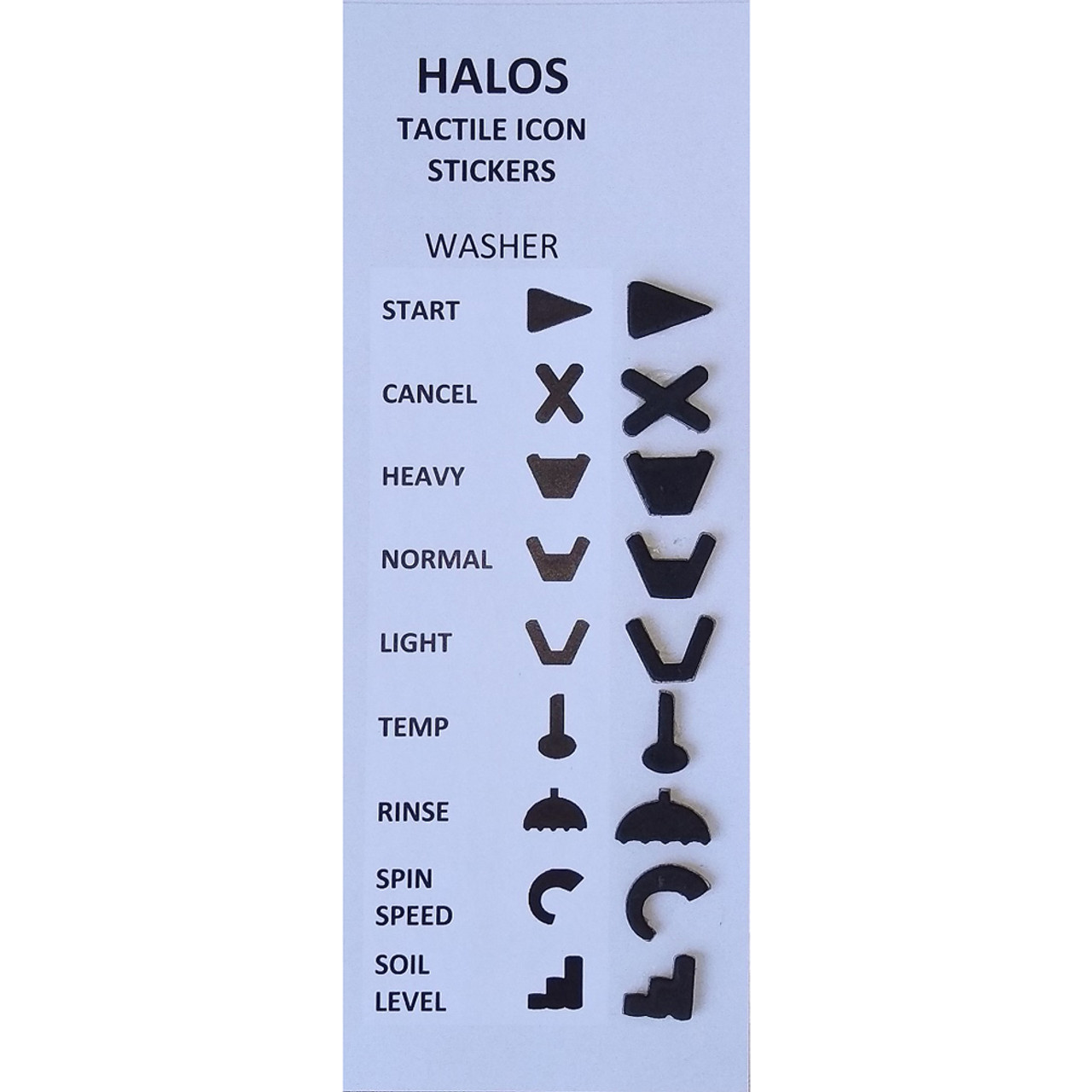 HALOS Tactile Washer Stickers - 2 sets per pack