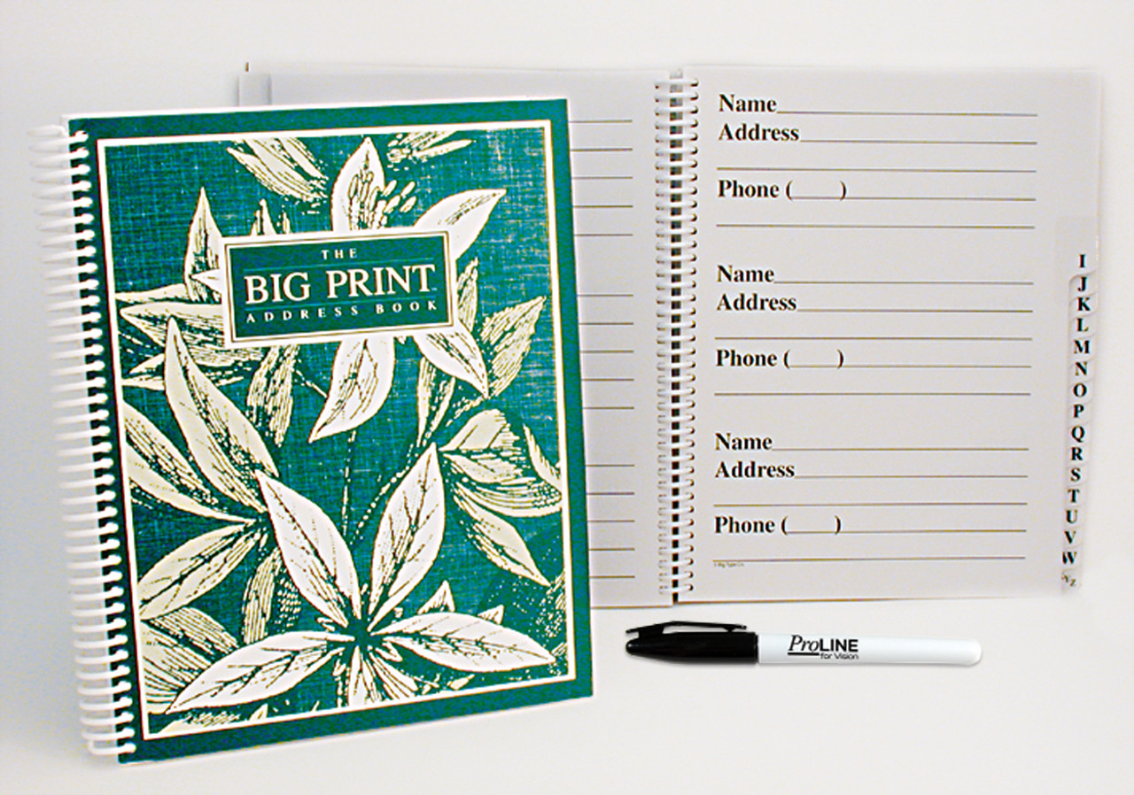 Big Print Address Book with ProLINE Felt Tip Pen