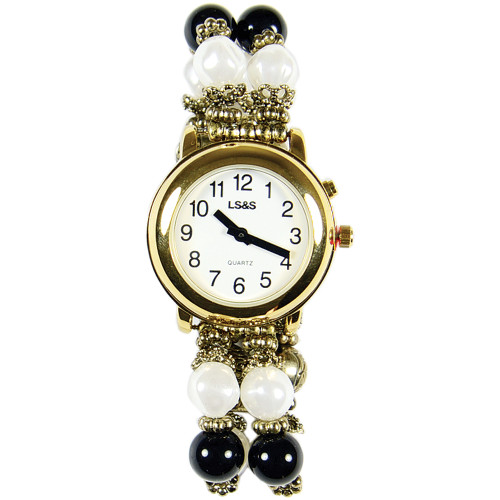 black and white beaded band talking watch