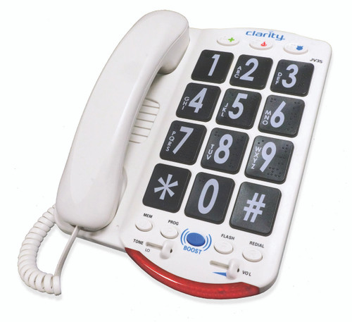 Clarity JV35 Big Button Braille Phone - Black Buttons w/Back Talk