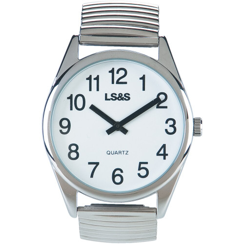 Low Vision Watch - White Face - XL Silver Expansion Band