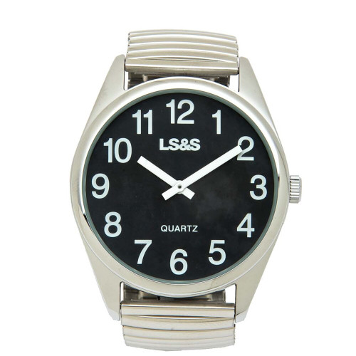 Low Vision Watch with Black Face and XL Silver Flex Band