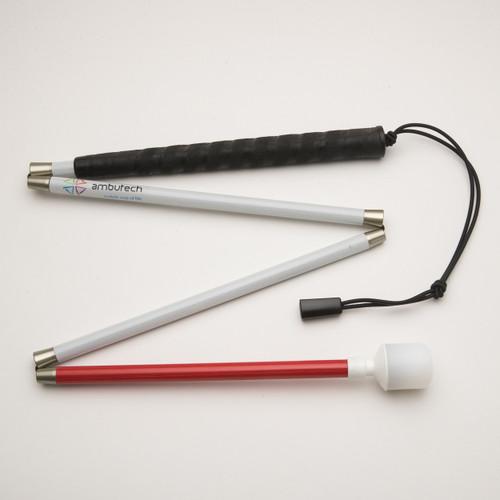Ambutech Graphite Folding Cane Hookstyle Rolling Marshmallow Tip