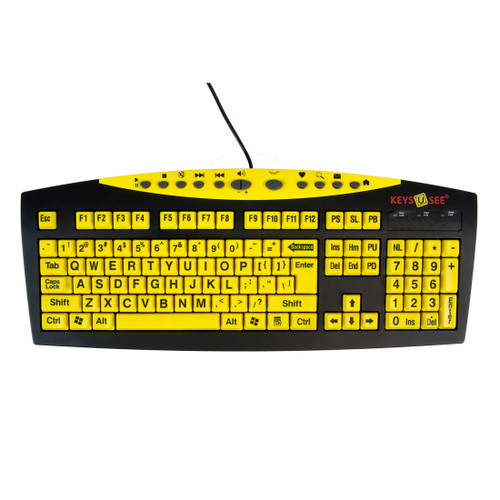 Keys-U-See Yellow Keys on Black Keyboard Black Letters