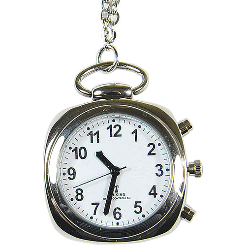 Talking Atomic Pendant Watch with Silver Chain