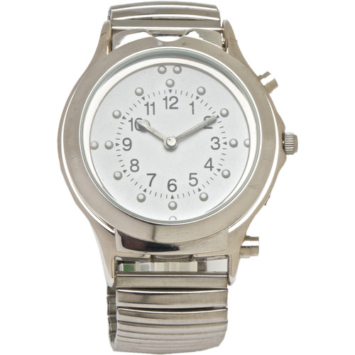 Braille Talking Watch White Face Silver Case and Band