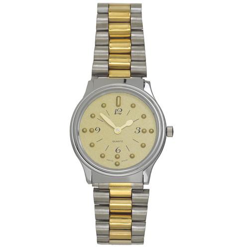 Men's Montiel Braille Watch Gold face, chrome case, bracelet