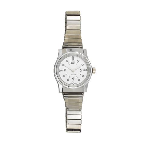 Ladies' Montiel Braille Watch Silver face, chrome case, expansion band