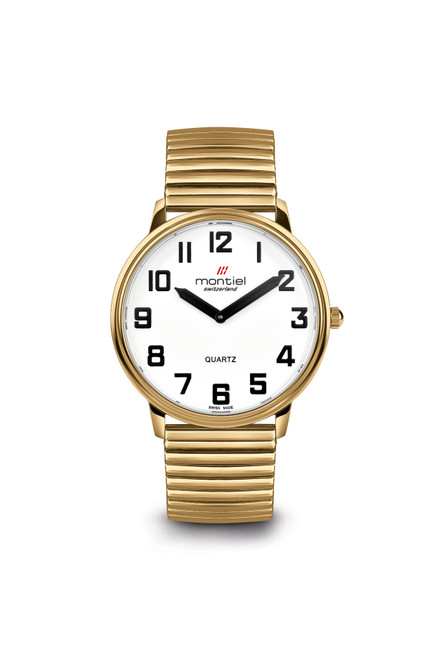 Montiel Extra Large Low Vision Gold Watch with Flex Band