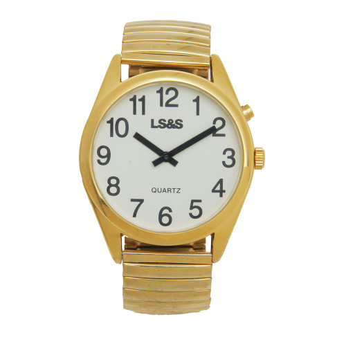 XL Talking Watch - 1 Button - Gold Case - Gold Band White Face