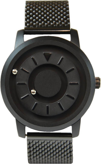 Magnetic Tactile Watch with a Black Metal Face and a Steel Mesh Band
