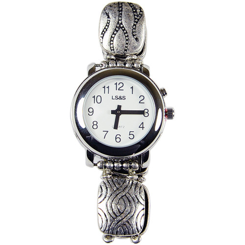 Ladies 1-Button Talking Watch Silver-Toned Engraved Beaded