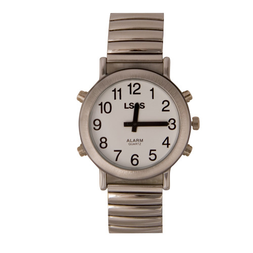 Talking 4 Button Watch With Choice of Voice White Face, Silver Color, Expansion Band