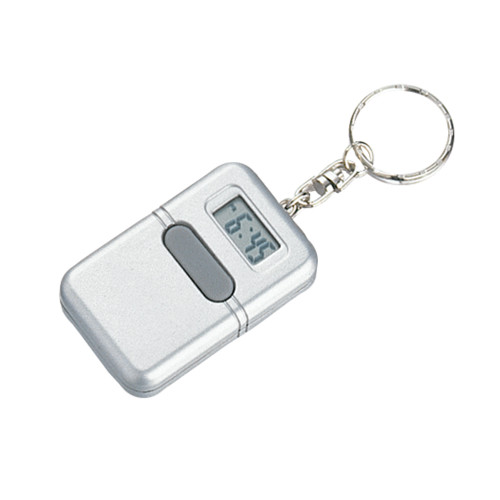 Silver Talking Clock Keychain - Spanish