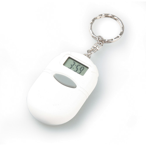 White Oval Talking Clock Keychain