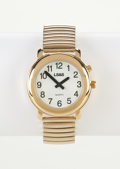 Talking Watch 1-Button White Face Gold Exp. Band