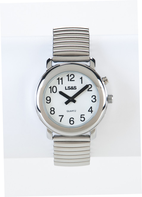 Talking Watch 1-Button White Face - Silver Exp. Band