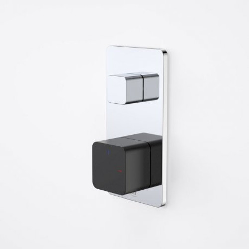 Epic Bloc Progressive Bath/Shower Mixer With Diverter (Chrome/Matte Black) [152378]