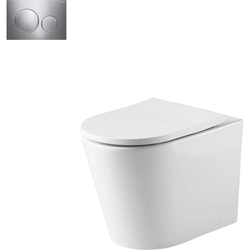 Oslo Wall Faced Toilet Suite With Geberit Chrome Round Push Plate [166269]