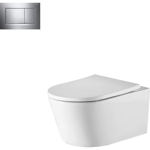 Oslo Wall Hung Toilet Suite With Geberit Chrome Square Push Plate [166271]