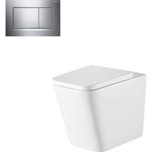 Munich Wall Faced Toilet Suite With Geberit Chrome Square Push Plate [166276]
