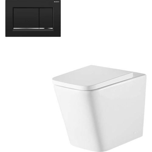 Munich Wall Faced Toilet Suite With Geberit Matte Black Square Push Plate [166277]