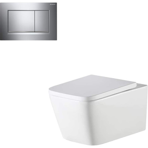Munich Wall Hung Toilet Suite With Geberit Chrome Square Push Plate [166280]