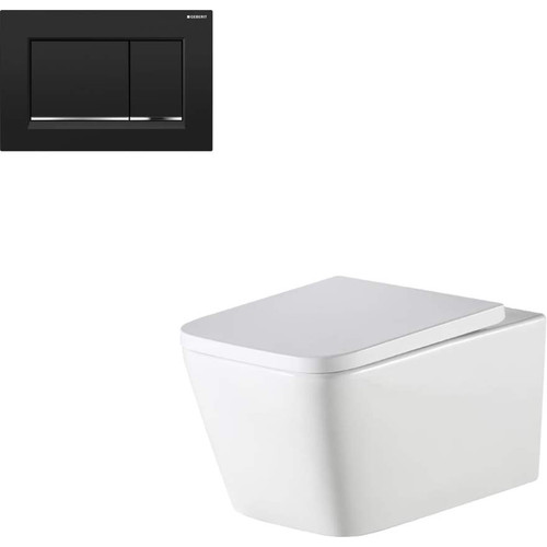 Munich Wall Hung Toilet Suite With Geberit Matte Black Square Push Plate [166281]