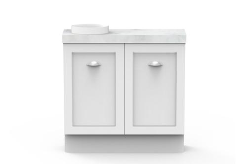 Vanity Madison Mini W/-Kick Cs 2Dr 900mm O/Set Joy Basin Wht [166317]