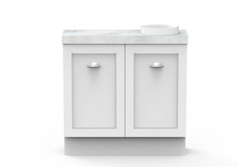 Vanity Madison Mini W/-Kick Cs 2Dr 900mm O/Set Joy Basin Wht [166318]